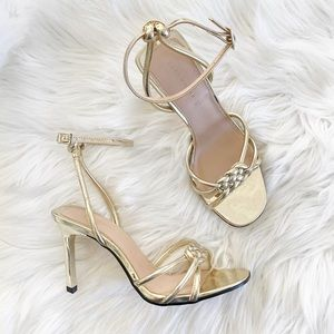 Zara Gold Braided Ankle Strap Heels